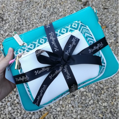 3 bag gift set - Turquoise/White
