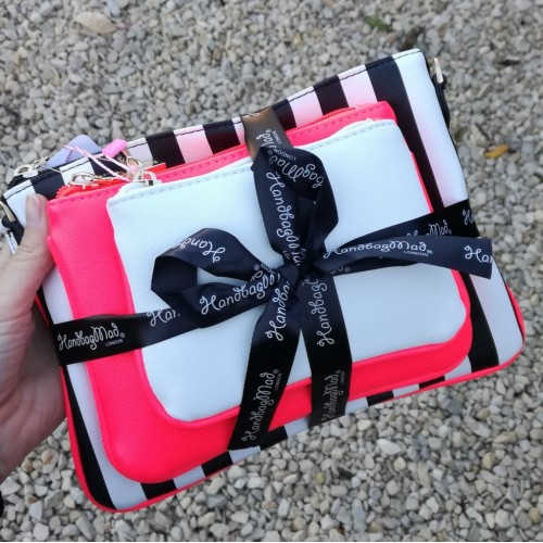 3 bag gift set - bright pink with stripes