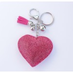 Heart crystal keyring Hot Pink key ring