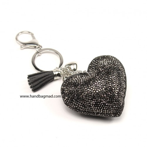 Heart Crystal Key Ring  - hematite