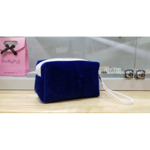 Furry make up bag - Navy