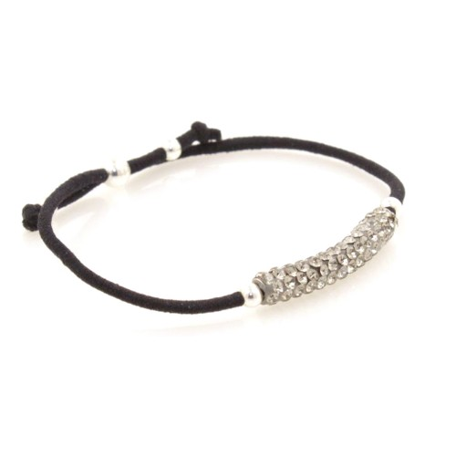 Elastic Crystal Bracelet - Black & Grey