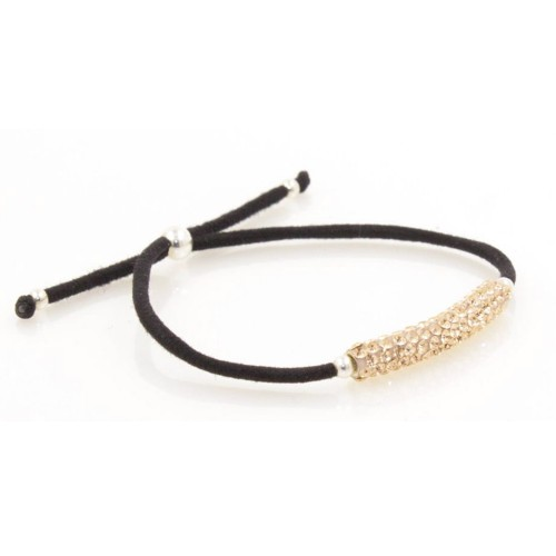 Elastic Crystal Bracelet - Black & Rose Gold