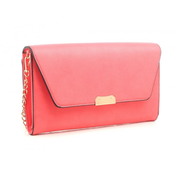 670a8abcc3 Hand held   Venice clutch - Coral