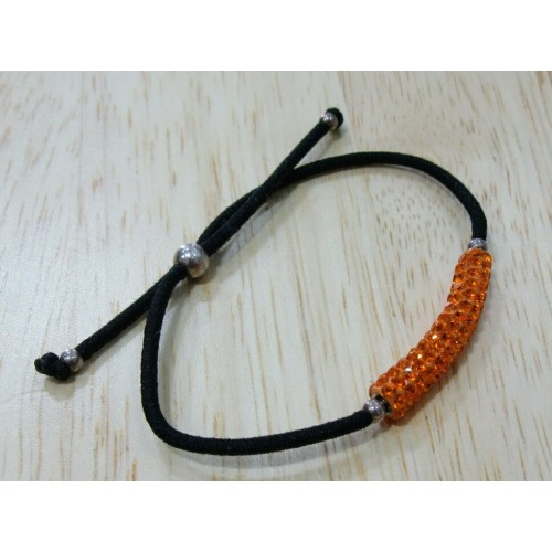 Elastic Crystal Bracelet - Black & Orange