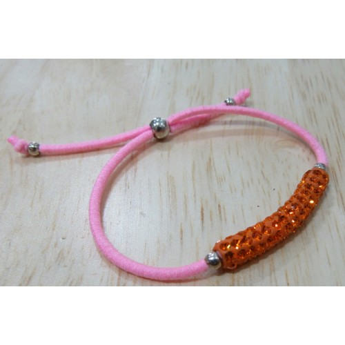 Elastic Crystal Bracelet - Baby Pink & Orange