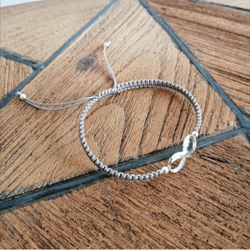 Infinity sterling silver bracelet - Grey with silver
