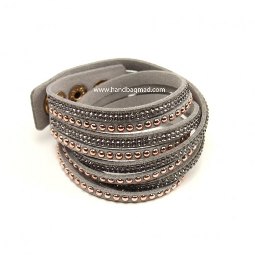 Crystal Wrap Bracelet - grey & rose gold