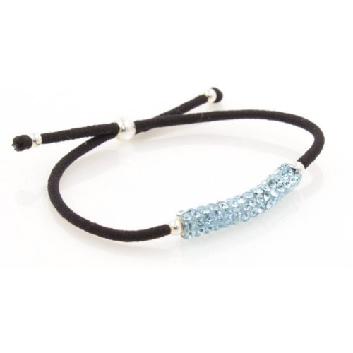 Elastic Crystal Bracelet - Black & Light Blue