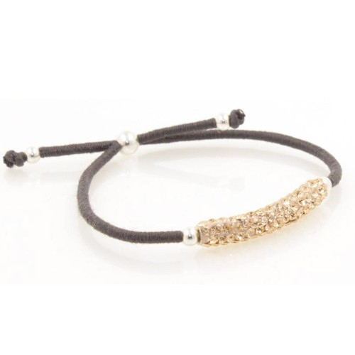 Elastic Crystal Bracelet - Dark Grey & Rose Gold
