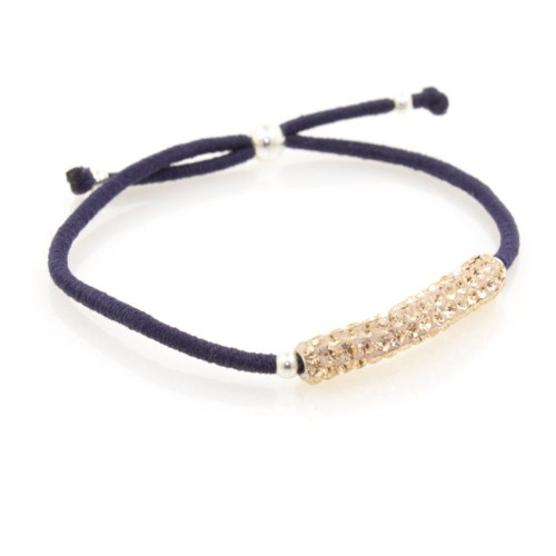 Elastic Crystal Bracelet - Navy & Rose Gold