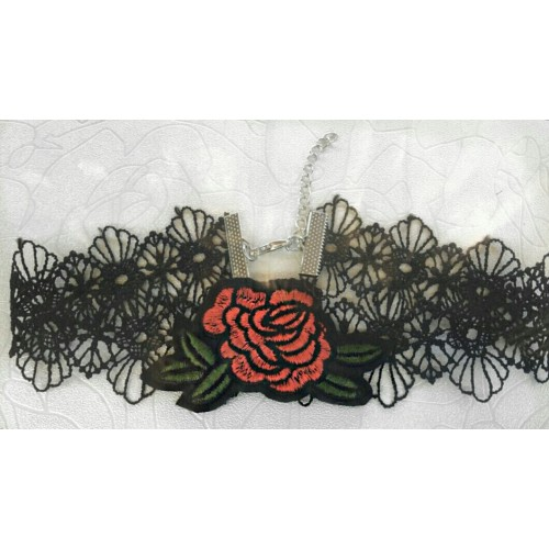 Rose lace choker with green leaf
