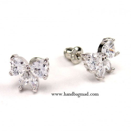 Polly Bow Studs - Silver