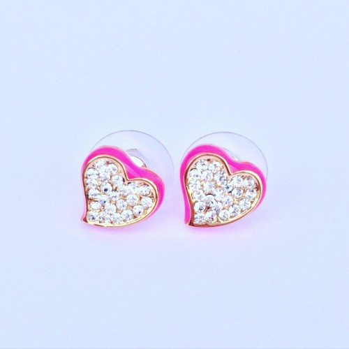 Valentina Heart Earrings - Fuchsia