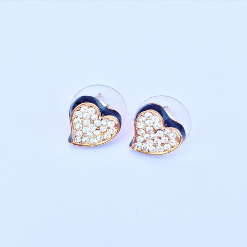Valentina Heart Earrings - Black
