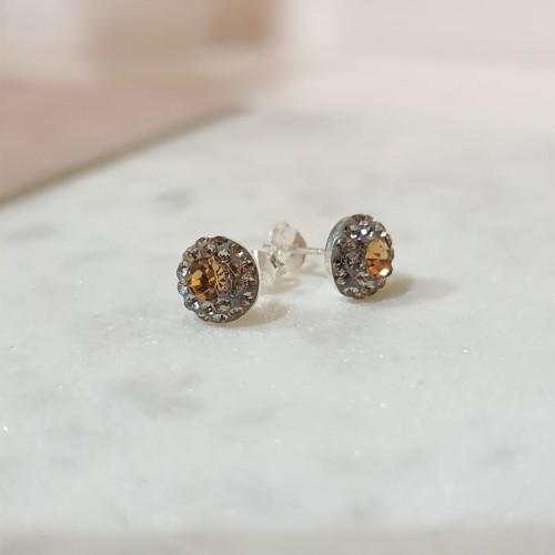 Grey and gold solid silver studs