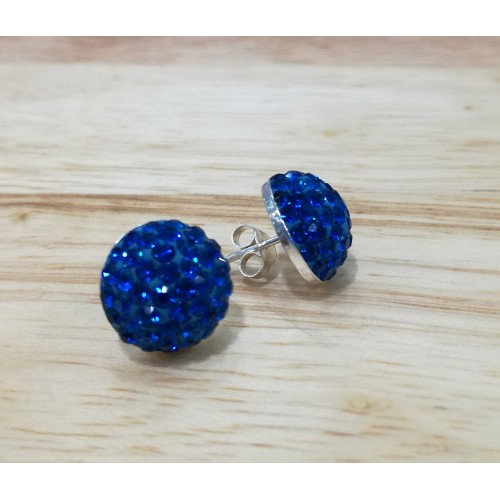 12mm sterling silver half ball studs in royal blue