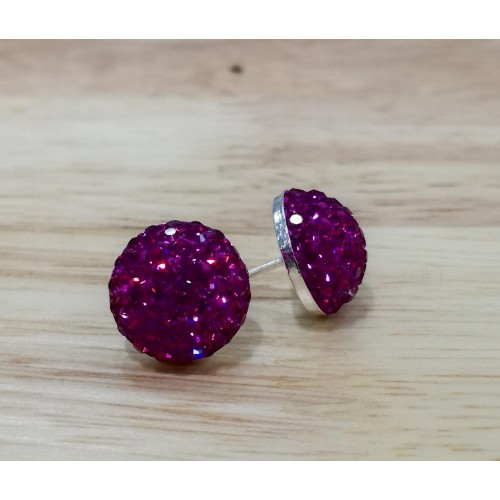 10mm sterling silver half ball studs in hot pink