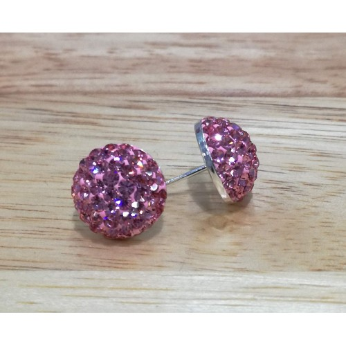 10mm sterling silver half ball studs in light pink