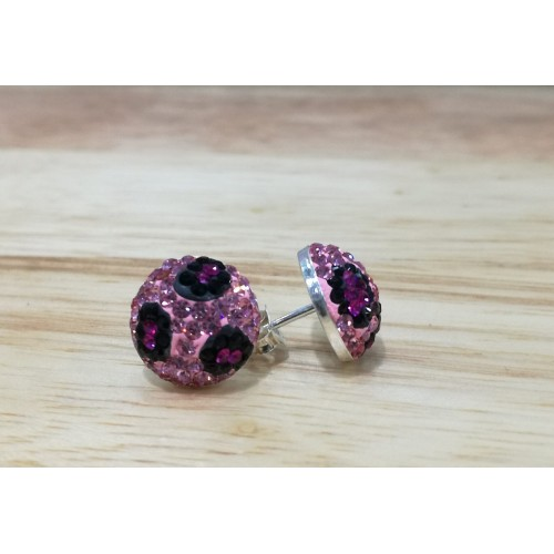 12mm half ball studs in pink leopard