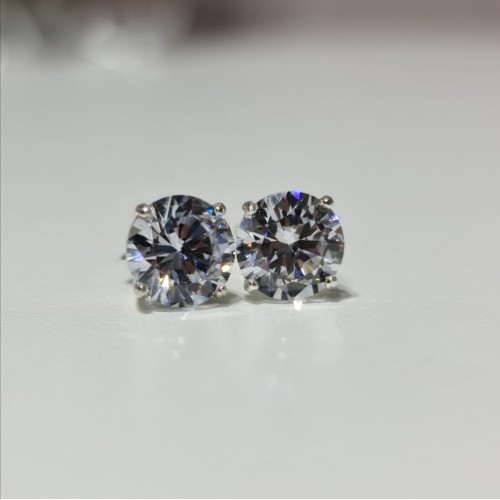 crystal sterling silver studs-10mm