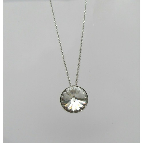 Crystal sterling silver necklace - Clear