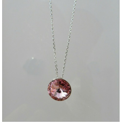 Crystal sterling silver necklace - Pink