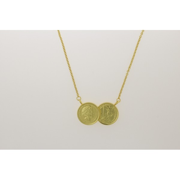 2 coin necklace gold