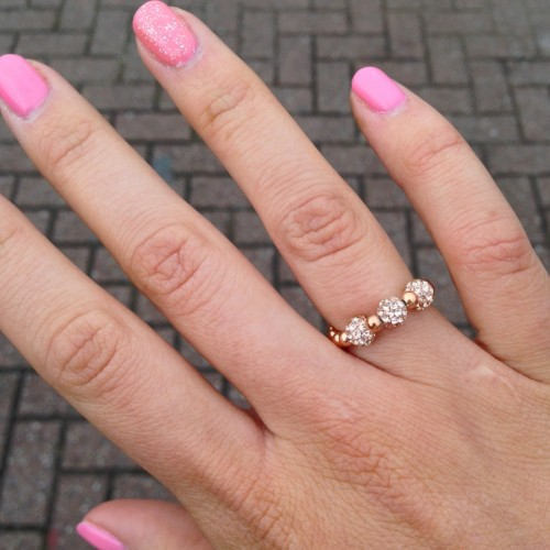 3 Ball Bead Ring Rose Gold with Rose Gold