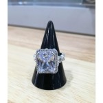 Crystal sterling silver rectangle ring