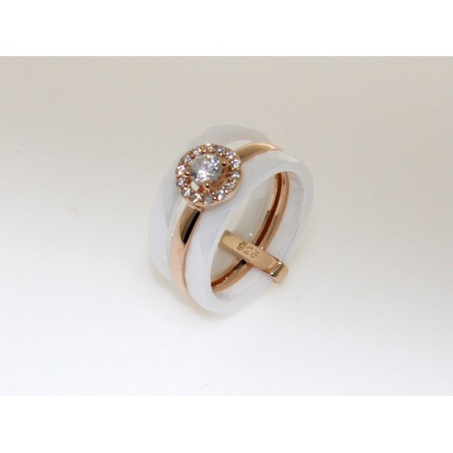 Triple ring sterling silver- White/rose gold