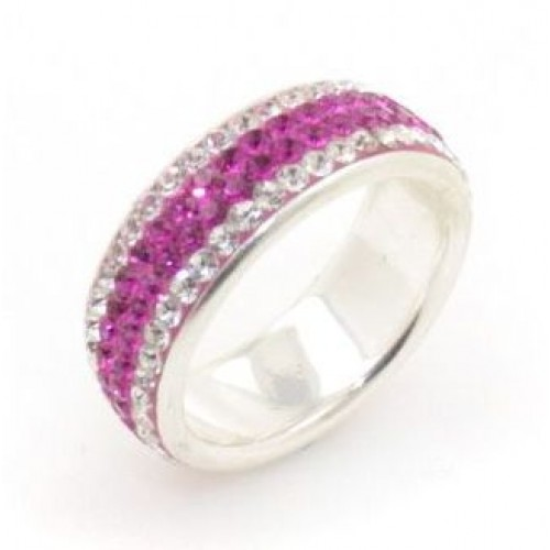 Chelsea 4 row ring - Silver with Fuchsia Pink