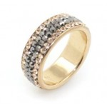 Chelsea 4 row ring - Rose Gold with Hematite Line