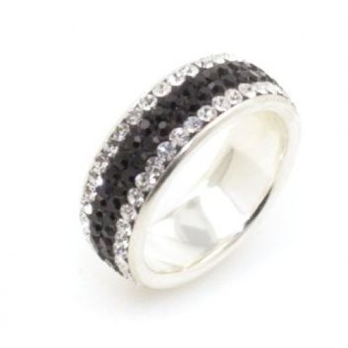 Chelsea 4 row ring - Silver with Jet Black