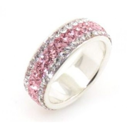 Chelsea 4 row ring - Silver with Light Pink