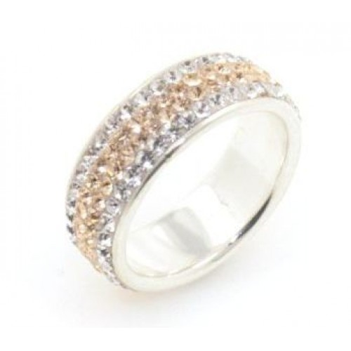 Chelsea 4 row ring - Silver with Rose Gold Line