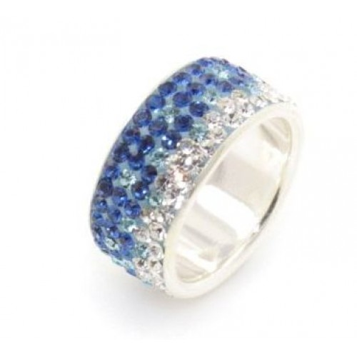 Geneva fade 5 row ring blue to white