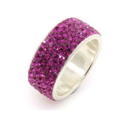 Paris sterling silver 5 row ring - Fuchsia Pink