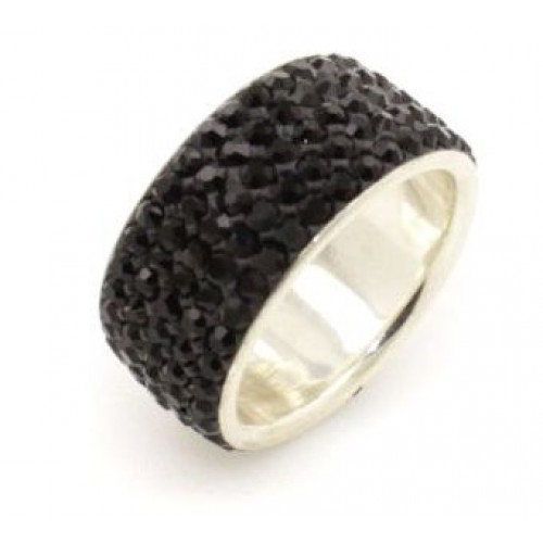 Paris sterling silver 5 row ring - Jet Black