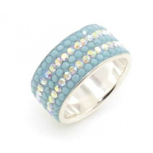 St Tropez 5 row ring - Pastel Sea Blue and AB Crystals