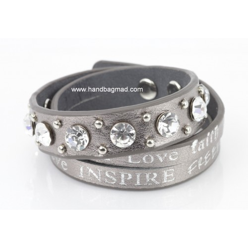 Leather Courage Studded Wrap Bracelet - Metallic