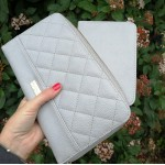 Organiser quilted purse - light grey