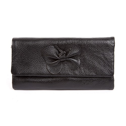 Selina Real Leather Bow Purse Black