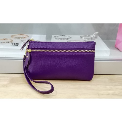 Real leather wristlet purse - Purple