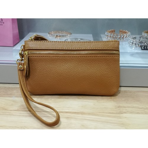 Real leather wristlet purse - Light tan