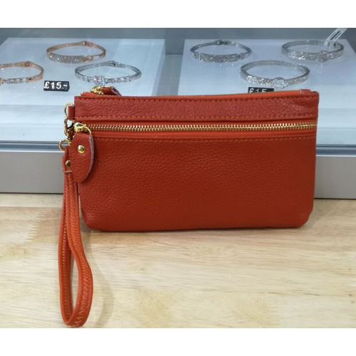 Real leather wristlet purse - Burnt orange