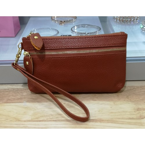 Real leather wristlet purse - Tan