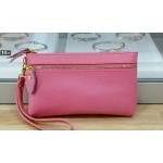 Real leather wristlet purse - Pink