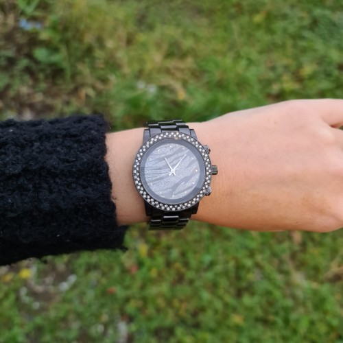 Charlotte zebra watch - black