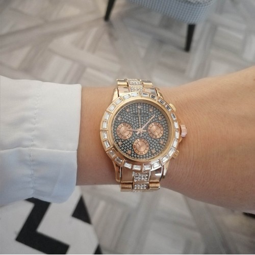 Victoria rose gold and black face watch